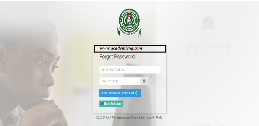 how to reset your jamb password via email, sms or support